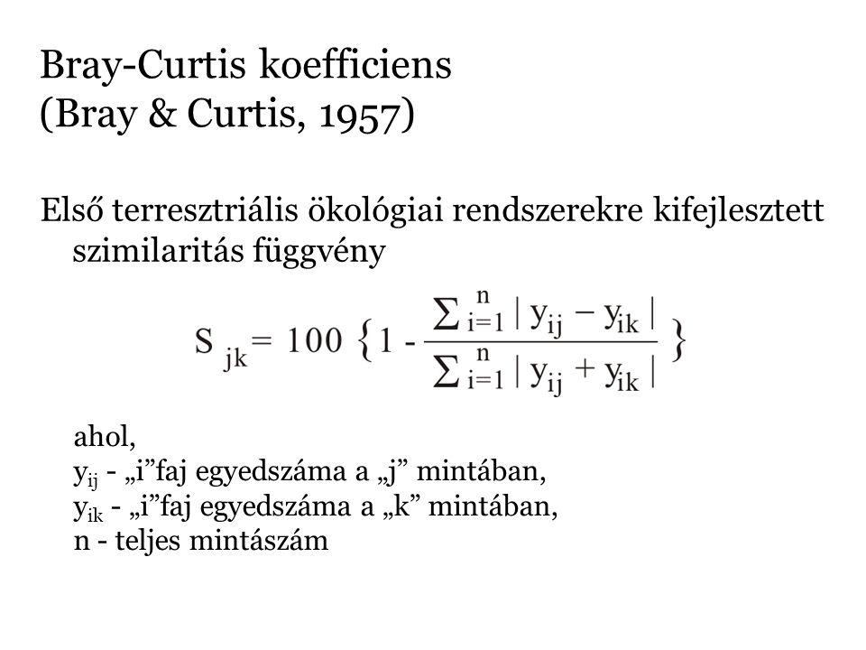 """Bray-Curtis koefficiens (Bray & Curtis, 1957) Első terresztriális ökológiai rendszerekre kifejlesztett szimilaritás függvény ahol, y ij - """"i""""faj egyed"""