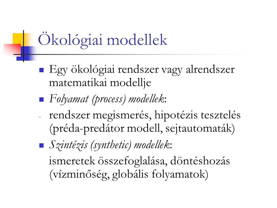 Ökológiai modellek Egy ökológiai rendszer vagy alrendszer matematikai modellje Folyamat (process) modellek: - rendszer megismerés, hipotézis tesztelés (préda-predátor modell, sejtautomaták) Szintézis (synthetic) modellek: ismeretek összefoglalása, döntéshozás (vízminőség, globális folyamatok)