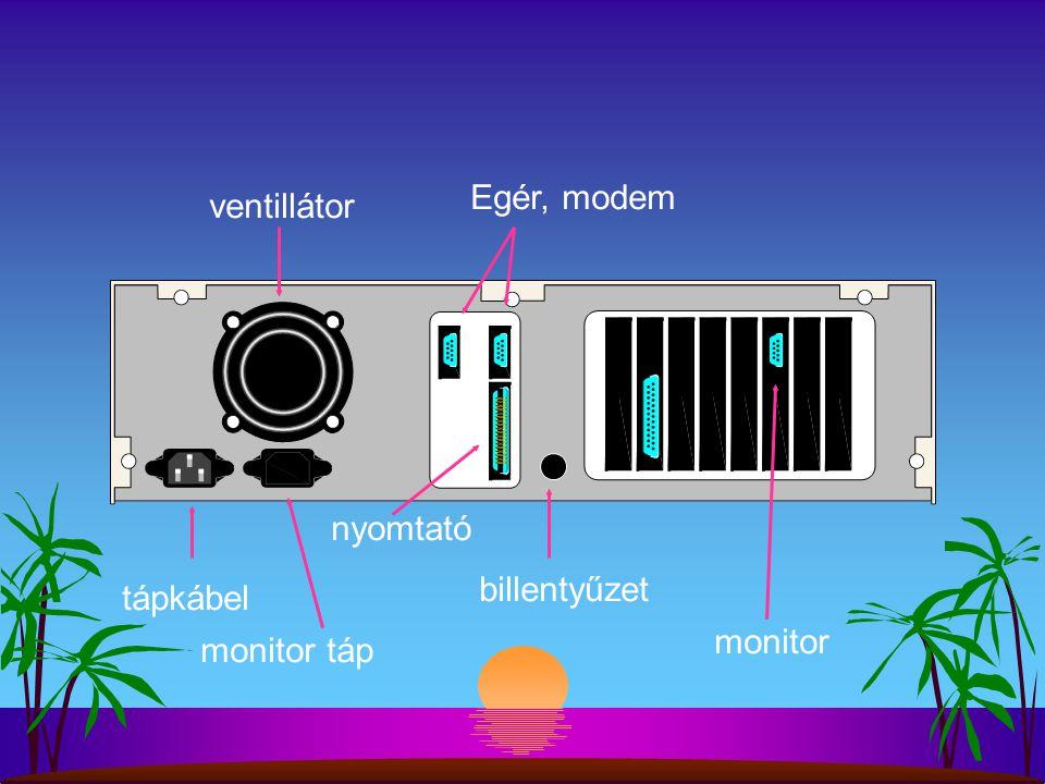 tápkábel ventillátor monitor táp billentyűzet monitor Egér, modem nyomtató