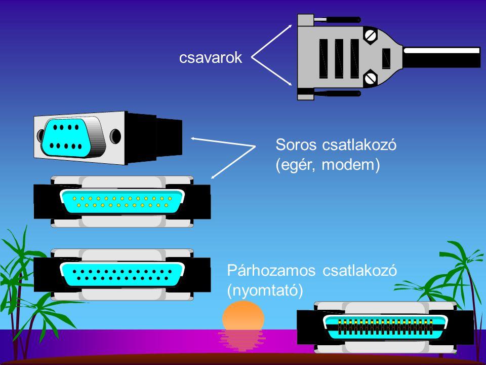 Soros csatlakozó (egér, modem) Párhozamos csatlakozó (nyomtató) csavarok
