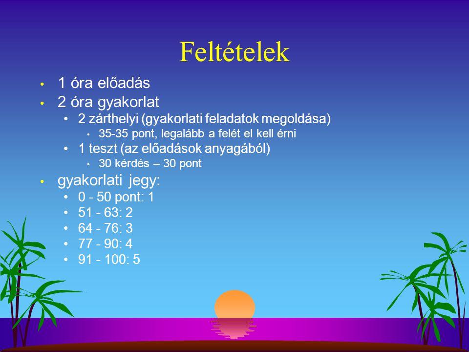Feltételek 1 óra előadás 2 óra gyakorlat 2 zárthelyi (gyakorlati feladatok megoldása) 35-35 pont, legalább a felét el kell érni 1 teszt (az előadások anyagából) 30 kérdés – 30 pont gyakorlati jegy: 0 - 50 pont: 1 51 - 63: 2 64 - 76: 3 77 - 90: 4 91 - 100: 5