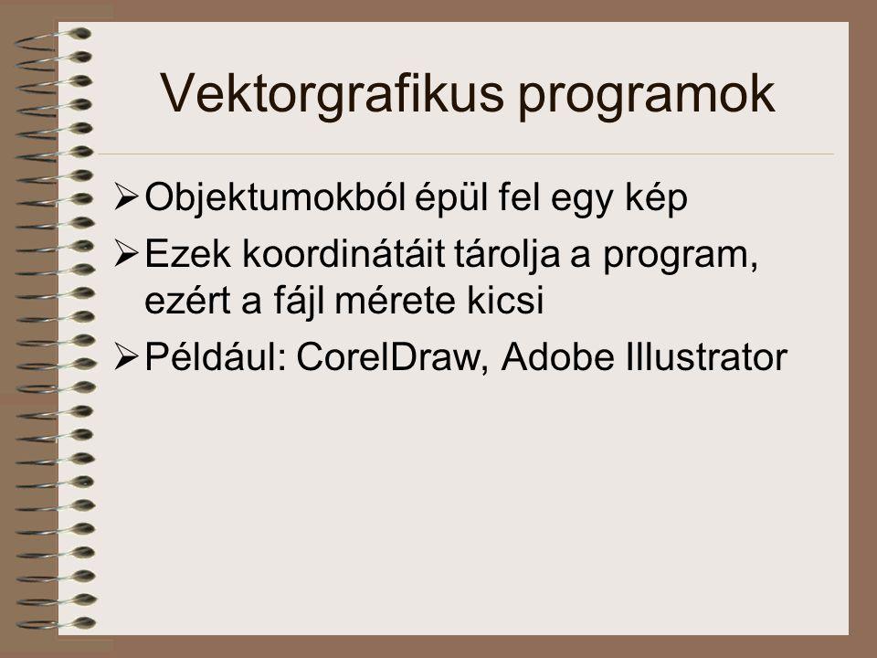 Vektorgrafikus programok  Objektumokból épül fel egy kép  Ezek koordinátáit tárolja a program, ezért a fájl mérete kicsi  Például: CorelDraw, Adobe