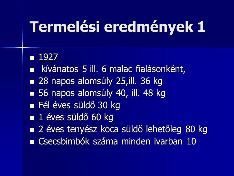 Termelési eredmények 1 1927 1927 kívánatos 5 ill. 6 malac fialásonként, kívánatos 5 ill.
