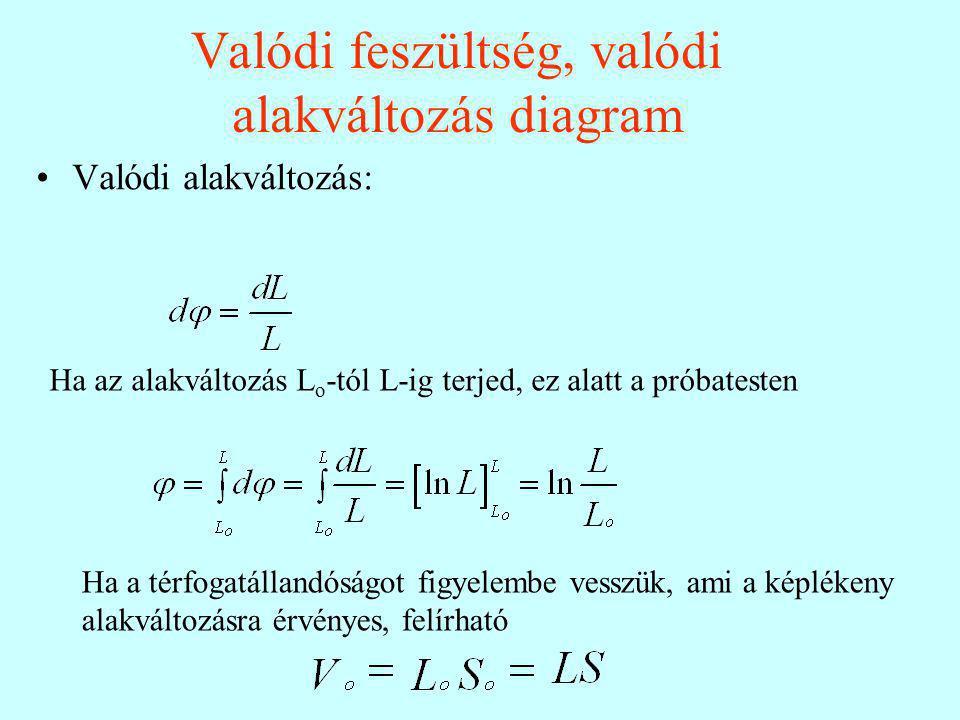 Valódi feszültség, valódi alakváltozás diagram Valódi alakváltozás: Ha az alakváltozás L o -tól L-ig terjed, ez alatt a próbatesten Ha a térfogatállandóságot figyelembe vesszük, ami a képlékeny alakváltozásra érvényes, felírható