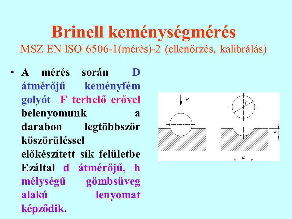 Brinell keménységmérés MSZ EN ISO 6506-1(mérés)-2 (ellenőrzés, kalibrálás) A mérés során D átmérőjű keményfém golyót F terhelő erővel belenyomunk a darabon legtöbbször köszörüléssel előkészített sík felületbe Ezáltal d átmérőjű, h mélységű gömbsüveg alakú lenyomat képződik.