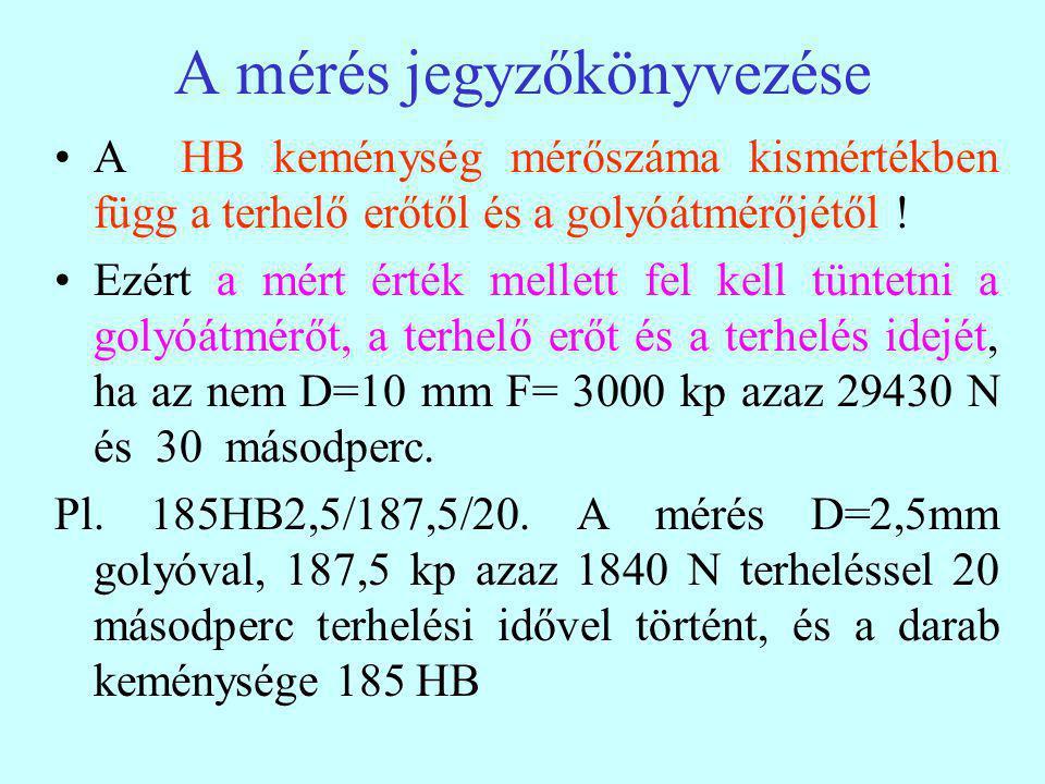 A mérés jegyzőkönyvezése A HB keménység mérőszáma kismértékben függ a terhelő erőtől és a golyóátmérőjétől .