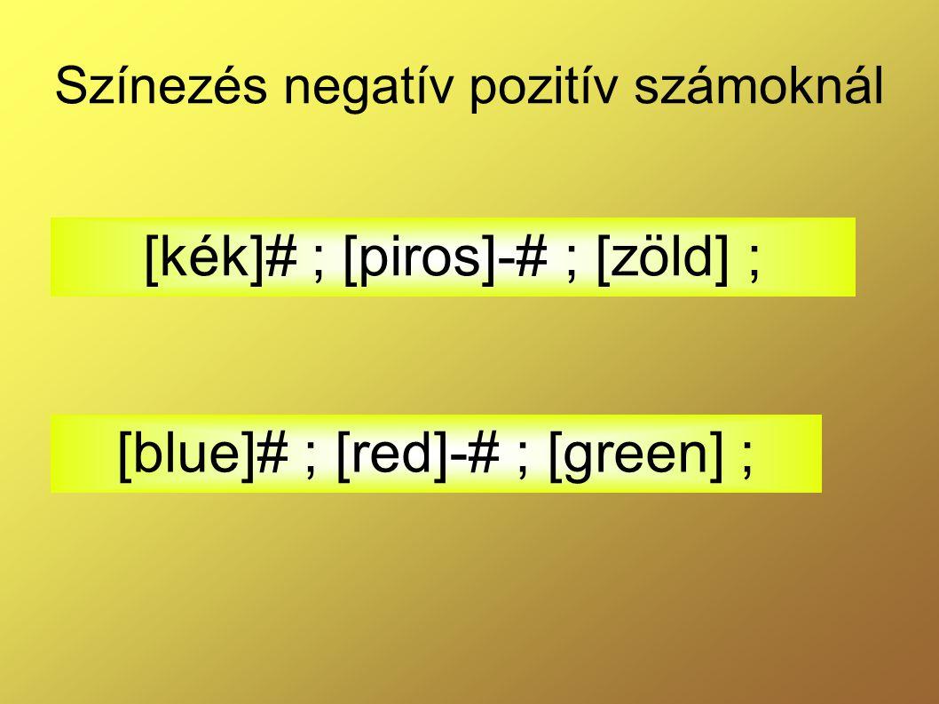 Színezés negatív pozitív számoknál [kék]# ; [piros]-# ; [zöld] ; [blue]# ; [red]-# ; [green] ;