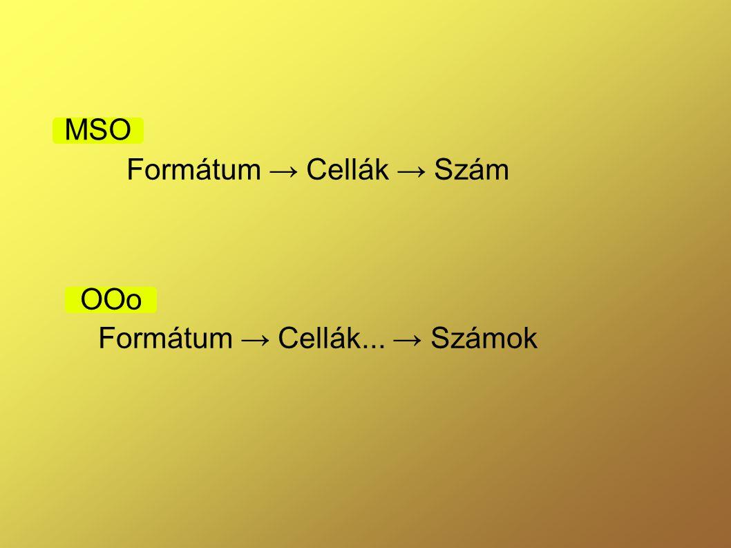 Formátum → Cellák → Szám Formátum → Cellák... → Számok OOo MSO