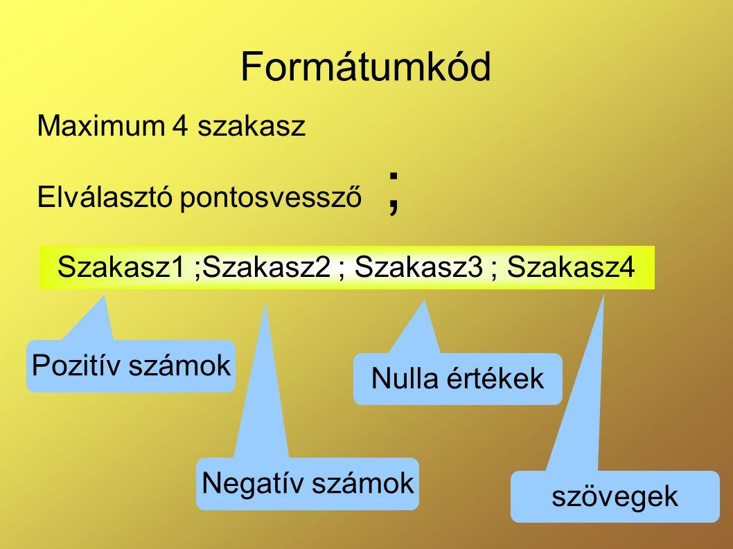 Formátumkód Maximum 4 szakasz Elválasztó pontosvessző ; Szakasz1 ;Szakasz2 ; Szakasz3 ; Szakasz4 Pozitív számok Negatív számok Nulla értékek szövegek