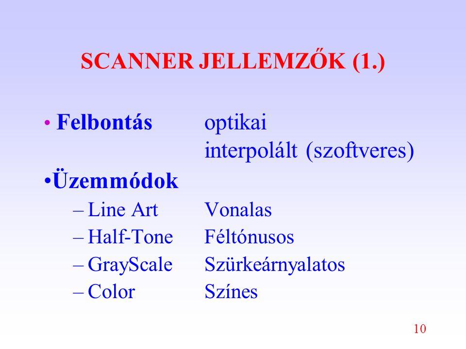 10 SCANNER JELLEMZŐK (1.) Felbontásoptikai interpolált (szoftveres) Üzemmódok –Line ArtVonalas –Half-ToneFéltónusos –GrayScaleSzürkeárnyalatos –ColorSzínes