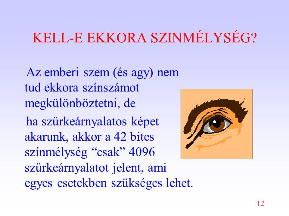 12 KELL-E EKKORA SZINMÉLYSÉG.