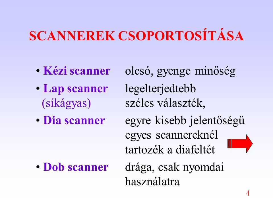 4 SCANNEREK CSOPORTOSÍTÁSA Kézi scannerolcsó, gyenge minőség Lap scannerlegelterjedtebb (síkágyas)széles választék, Dia scanneregyre kisebb jelentőségű egyes scannereknél tartozék a diafeltét Dob scannerdrága, csak nyomdai használatra