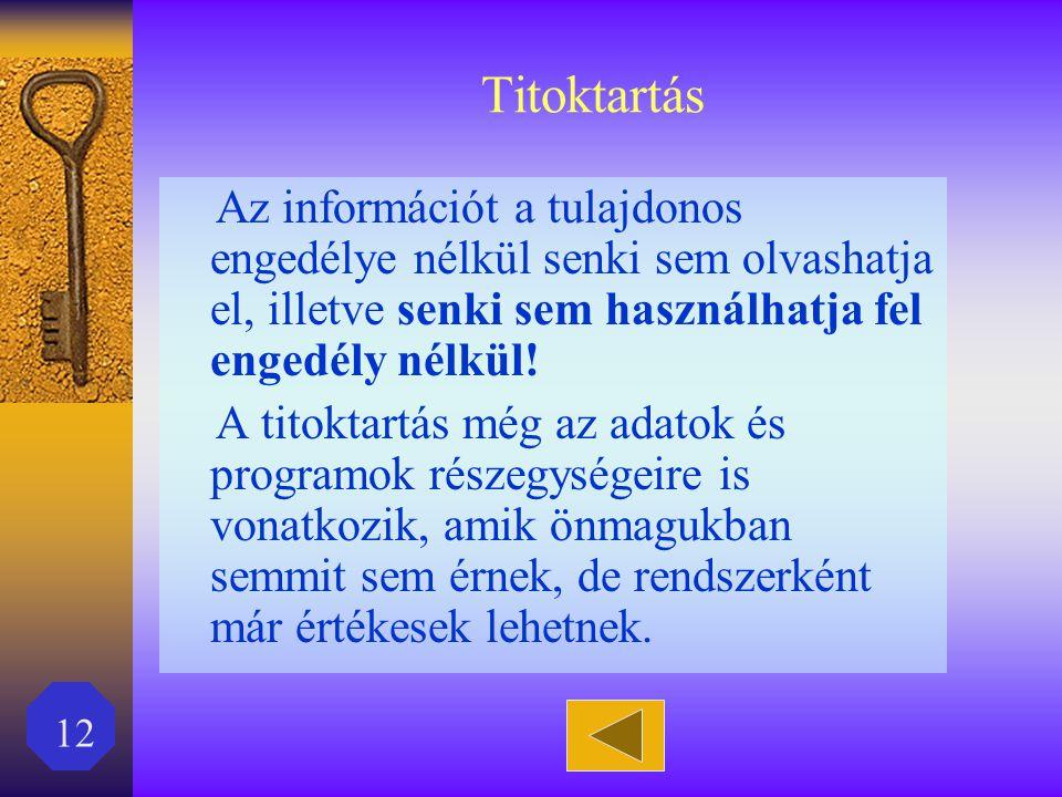 12 Titoktartás Az információt a tulajdonos engedélye nélkül senki sem olvashatja el, illetve senki sem használhatja fel engedély nélkül! A titoktartás