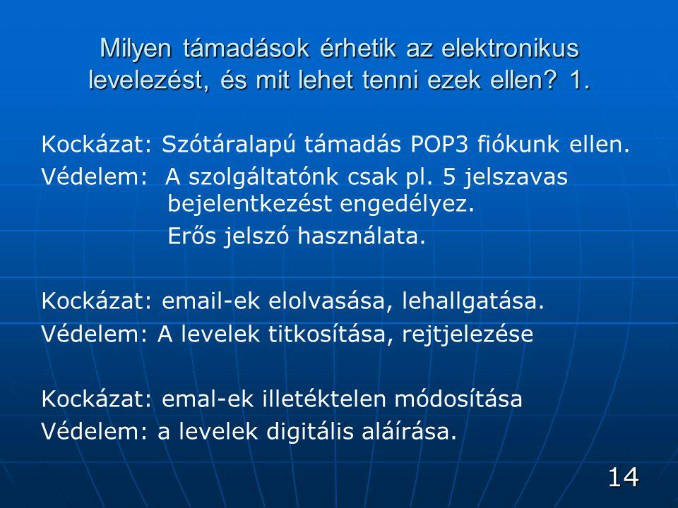 14 Milyen támadások érhetik az elektronikus levelezést, és mit lehet tenni ezek ellen.