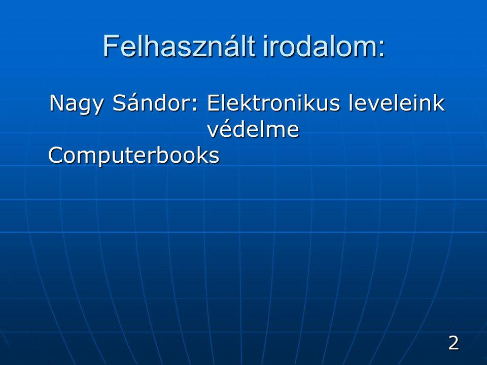 2 Felhasznált irodalom: Nagy Sándor: Elektronikus leveleink védelme Computerbooks