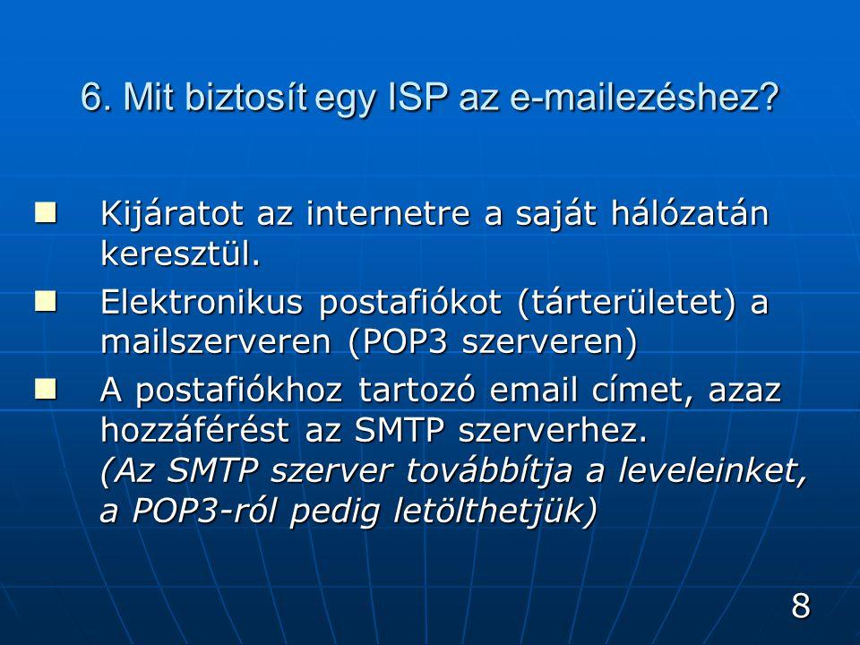 9 6.Mit biztosít egy ISP az e-mailezéshez. Kijáratot az internetre a saját hálózatán keresztül.
