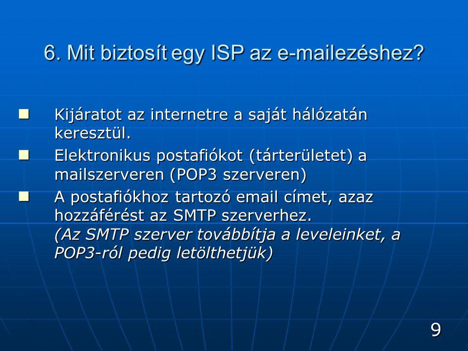 9 6. Mit biztosít egy ISP az e-mailezéshez. Kijáratot az internetre a saját hálózatán keresztül.