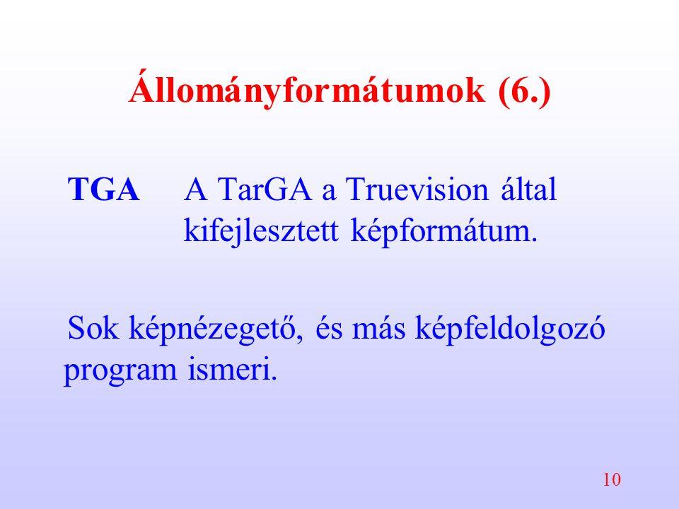 10 Állományformátumok (6.) TGAA TarGA a Truevision által kifejlesztett képformátum. Sok képnézegető, és más képfeldolgozó program ismeri.