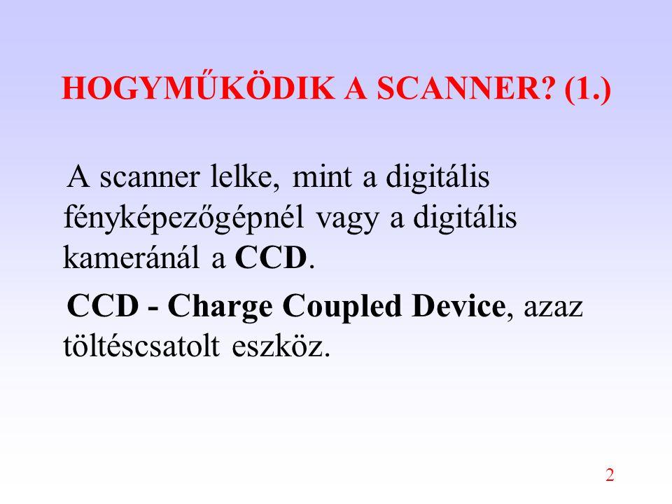 2 HOGYMŰKÖDIK A SCANNER? (1.) A scanner lelke, mint a digitális fényképezőgépnél vagy a digitális kameránál a CCD. CCD - Charge Coupled Device, azaz t