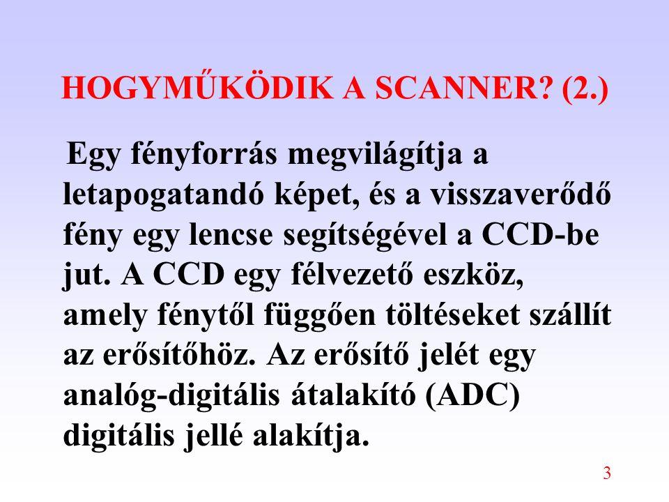 3 HOGYMŰKÖDIK A SCANNER? (2.) Egy fényforrás megvilágítja a letapogatandó képet, és a visszaverődő fény egy lencse segítségével a CCD-be jut. A CCD eg