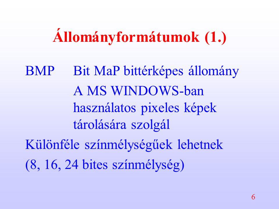 6 Állományformátumok (1.) BMPBit MaP bittérképes állomány A MS WINDOWS-ban használatos pixeles képek tárolására szolgál Különféle színmélységűek lehetnek (8, 16, 24 bites színmélység)
