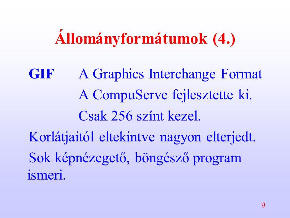 9 Állományformátumok (4.) GIFA Graphics Interchange Format A CompuServe fejlesztette ki. Csak 256 színt kezel. Korlátjaitól eltekintve nagyon elterjed