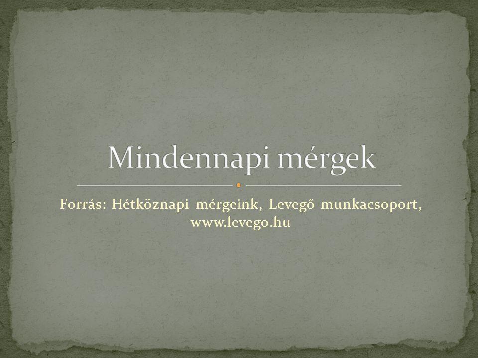 Forrás: Hétköznapi mérgeink, Levegő munkacsoport, www.levego.hu
