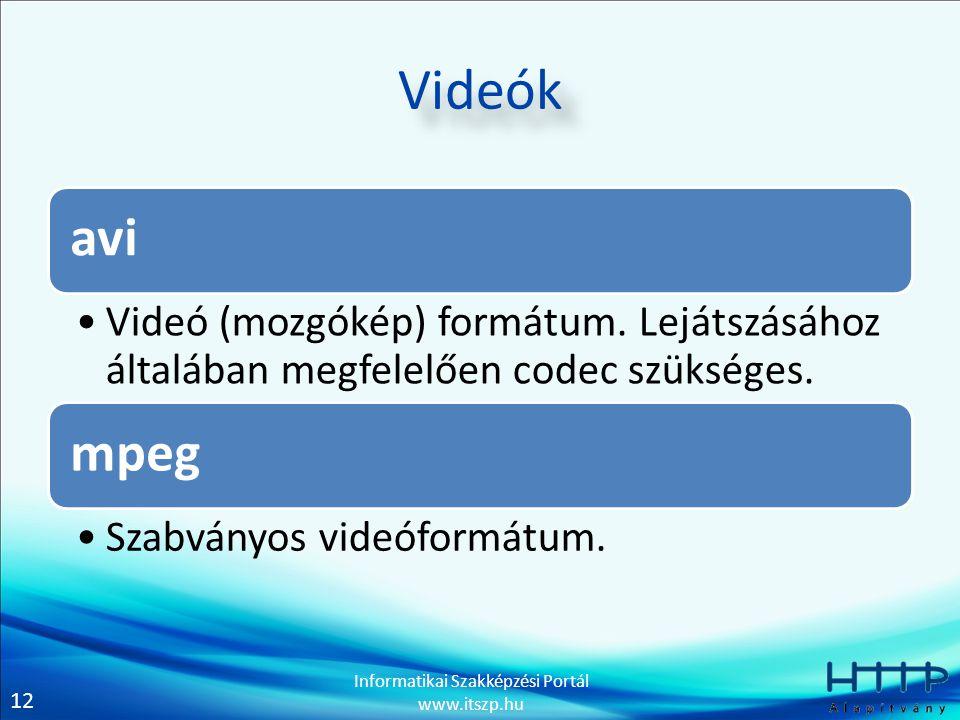 12 Informatikai Szakképzési Portál www.itszp.hu Videók avi Videó (mozgókép) formátum. Lejátszásához általában megfelelően codec szükséges. mpeg Szabvá