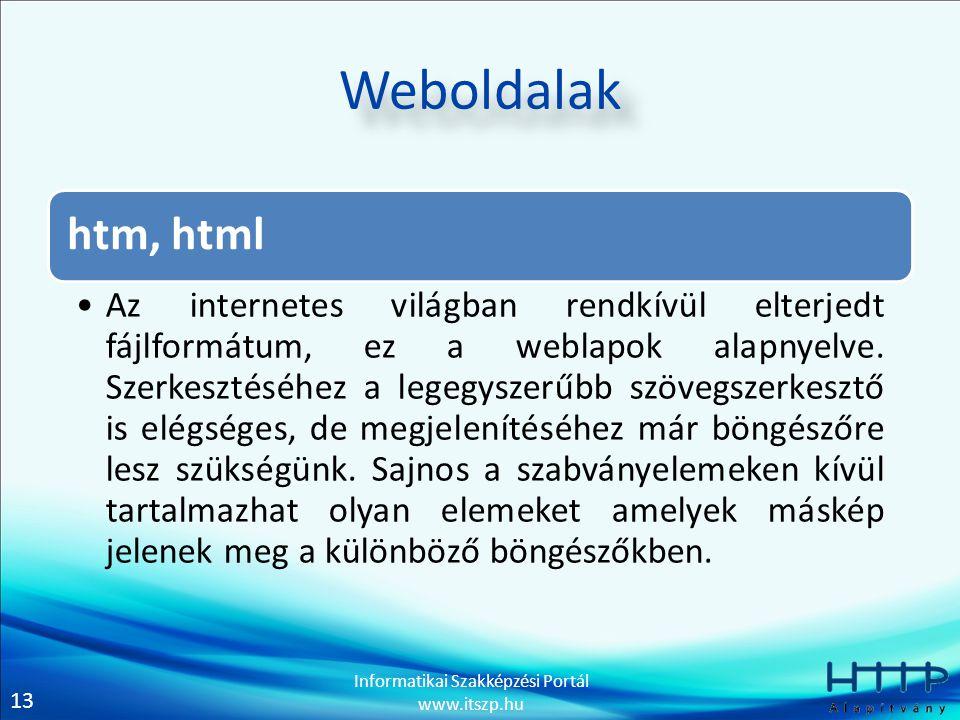 13 Informatikai Szakképzési Portál www.itszp.hu Weboldalak htm, html Az internetes világban rendkívül elterjedt fájlformátum, ez a weblapok alapnyelve