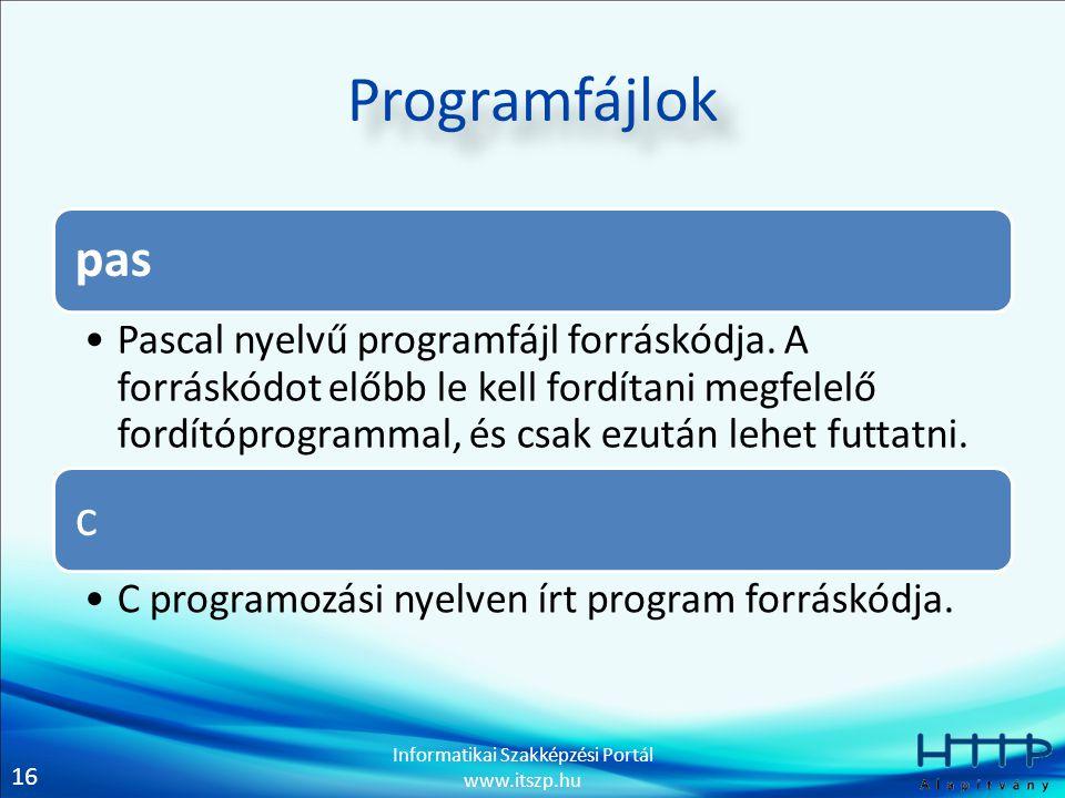 16 Informatikai Szakképzési Portál www.itszp.hu Programfájlok pas Pascal nyelvű programfájl forráskódja. A forráskódot előbb le kell fordítani megfele