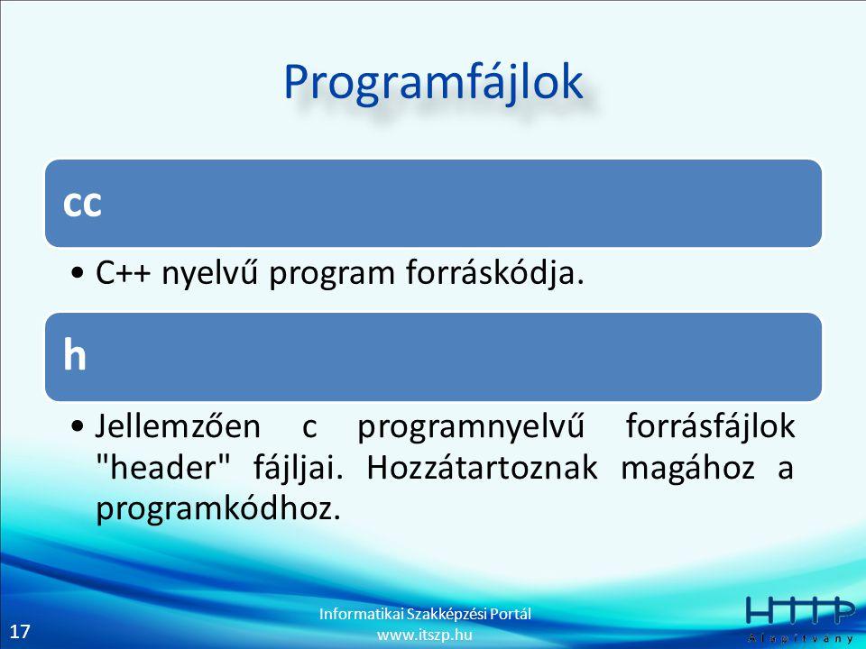 17 Informatikai Szakképzési Portál www.itszp.hu Programfájlok cc C++ nyelvű program forráskódja. h Jellemzően c programnyelvű forrásfájlok
