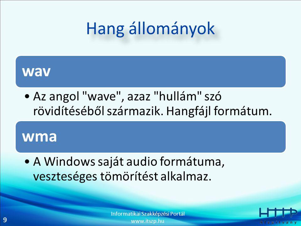 9 Informatikai Szakképzési Portál www.itszp.hu Hang állományok wav Az angol