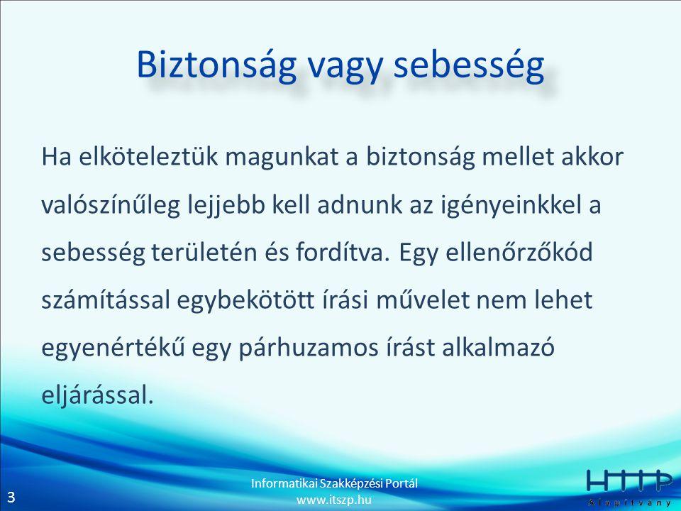 3 Informatikai Szakképzési Portál www.itszp.hu Biztonság vagy sebesség Ha elköteleztük magunkat a biztonság mellet akkor valószínűleg lejjebb kell adnunk az igényeinkkel a sebesség területén és fordítva.