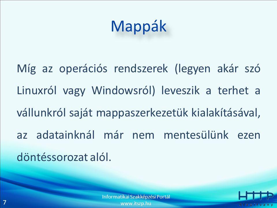 8 Informatikai Szakképzési Portál www.itszp.hu Keresés Egy jól megtervezett mappaszerkezetben az adatok megtalálása akár perceket spórolhat meg nekünk (extrém esetben akár órákat is).