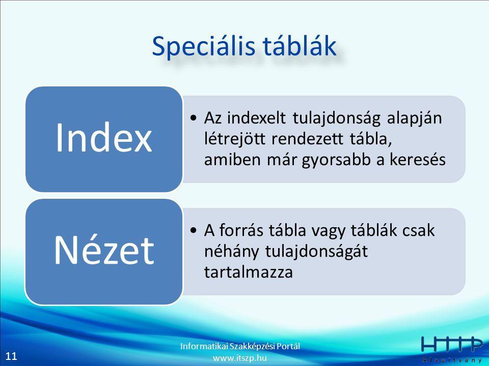 11 Informatikai Szakképzési Portál www.itszp.hu Speciális táblák Az indexelt tulajdonság alapján létrejött rendezett tábla, amiben már gyorsabb a keresés Index A forrás tábla vagy táblák csak néhány tulajdonságát tartalmazza Nézet
