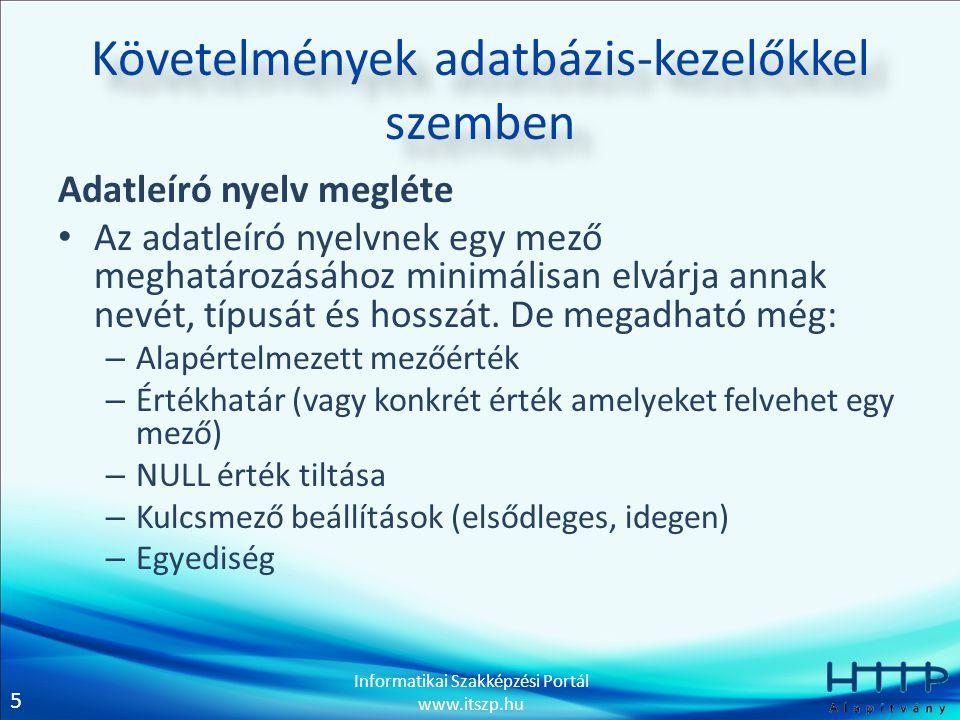 5 Informatikai Szakképzési Portál www.itszp.hu Követelmények adatbázis-kezelőkkel szemben Adatleíró nyelv megléte Az adatleíró nyelvnek egy mező meghatározásához minimálisan elvárja annak nevét, típusát és hosszát.
