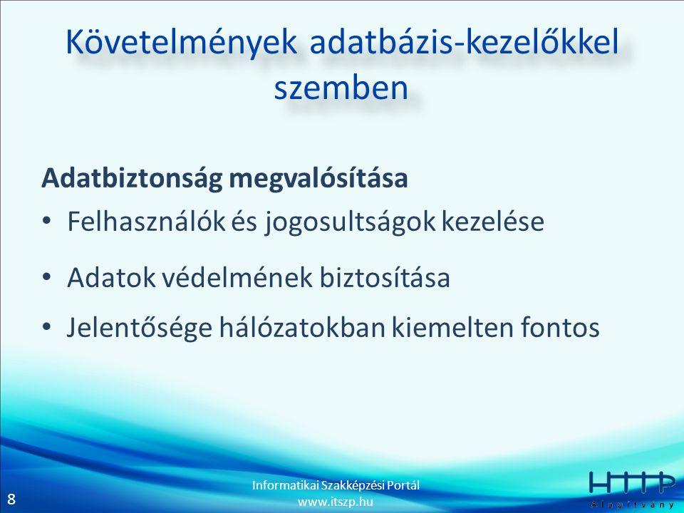 8 Informatikai Szakképzési Portál www.itszp.hu Követelmények adatbázis-kezelőkkel szemben Adatbiztonság megvalósítása Felhasználók és jogosultságok kezelése Adatok védelmének biztosítása Jelentősége hálózatokban kiemelten fontos