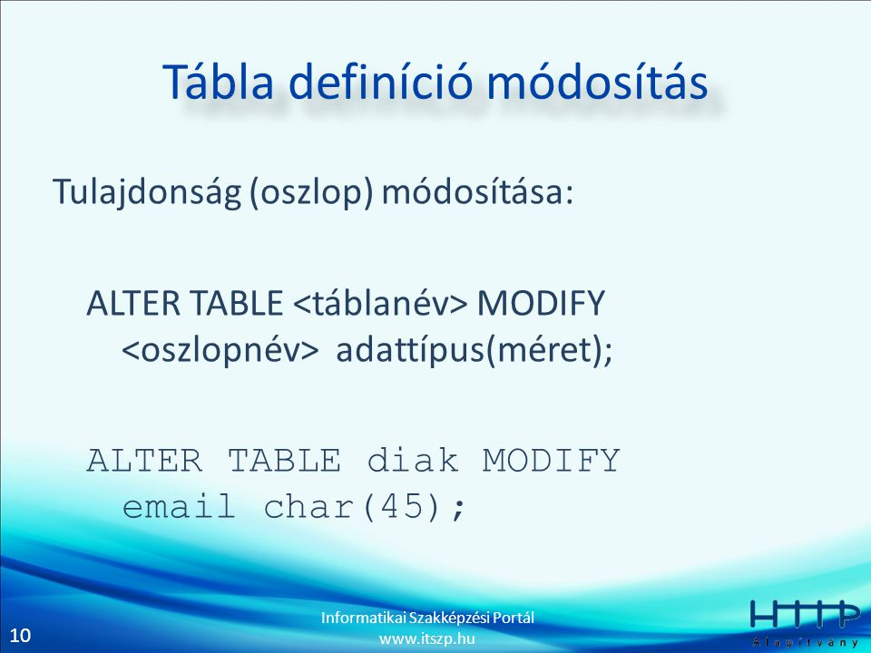 10 Informatikai Szakképzési Portál www.itszp.hu Tábla definíció módosítás Tulajdonság (oszlop) módosítása: ALTER TABLE MODIFY adattípus(méret); ALTER TABLE diak MODIFY email char(45);