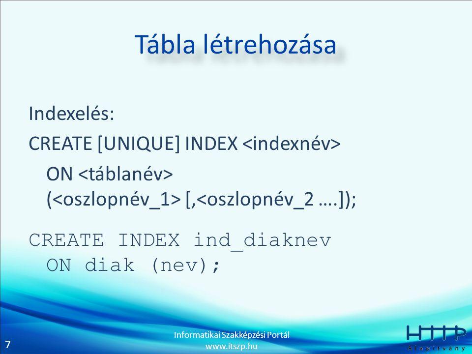 7 Informatikai Szakképzési Portál www.itszp.hu Tábla létrehozása Indexelés: CREATE [UNIQUE] INDEX ON ( [,<oszlopnév_2 ….]); CREATE INDEX ind_diaknev O