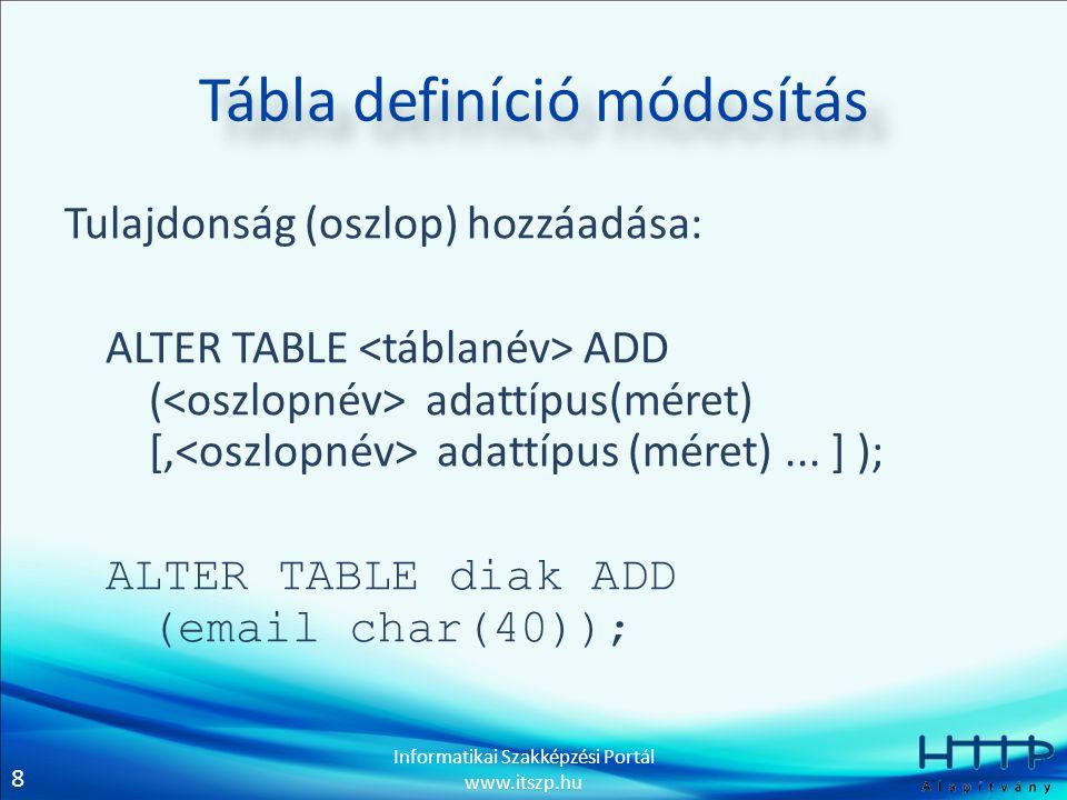 8 Informatikai Szakképzési Portál www.itszp.hu Tábla definíció módosítás Tulajdonság (oszlop) hozzáadása: ALTER TABLE ADD ( adattípus(méret) [, adattí