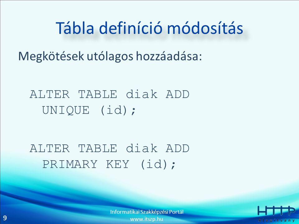 9 Informatikai Szakképzési Portál www.itszp.hu Tábla definíció módosítás Megkötések utólagos hozzáadása: ALTER TABLE diak ADD UNIQUE (id); ALTER TABLE