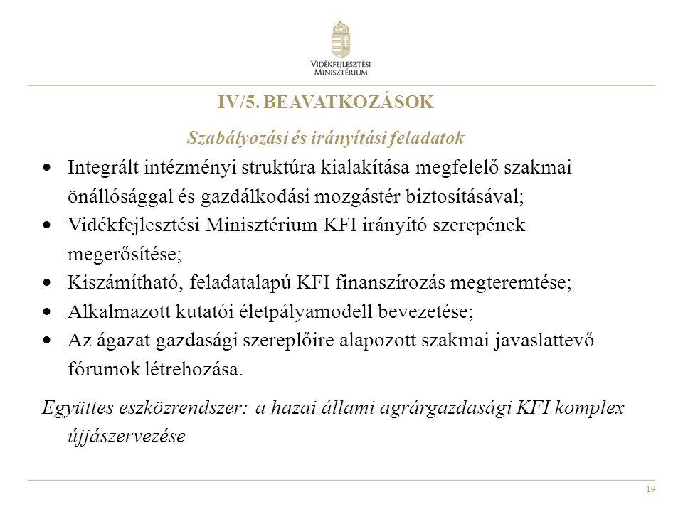 19 IV/5. BEAVATKOZÁSOK Szabályozási és irányítási feladatok  Integrált intézményi struktúra kialakítása megfelelő szakmai önállósággal és gazdálkodás