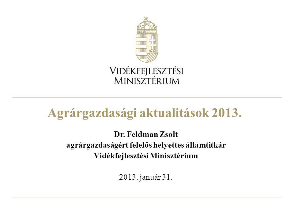 Agrárgazdasági aktualitások 2013. Dr. Feldman Zsolt agrárgazdaságért felelős helyettes államtitkár Vidékfejlesztési Minisztérium 2013. január 31.