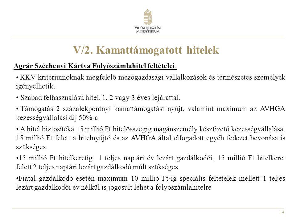 14 V/2. Kamattámogatott hitelek Agrár Széchenyi Kártya Folyószámlahitel feltételei: KKV kritériumoknak megfelelő mezőgazdasági vállalkozások és termés
