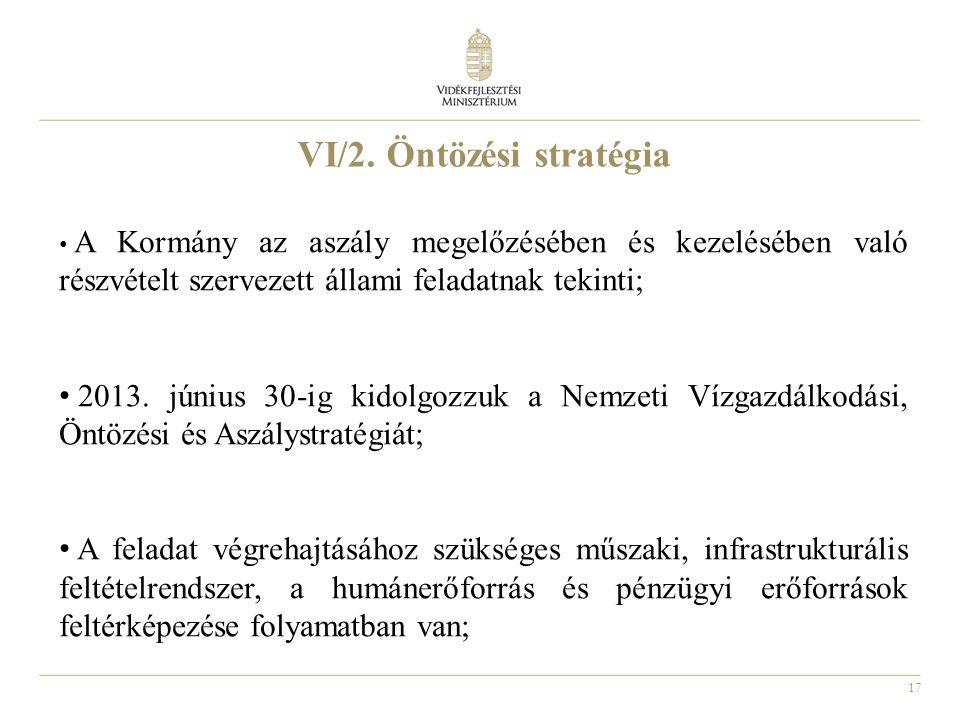 17 VI/2. Öntözési stratégia A Kormány az aszály megelőzésében és kezelésében való részvételt szervezett állami feladatnak tekinti; 2013. június 30-ig
