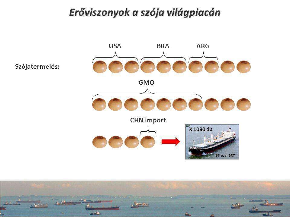Erőviszonyok a szója világpiacán USABRA ARG GMO CHN import X 1080 db Szójatermelés: 65 ezer BRT
