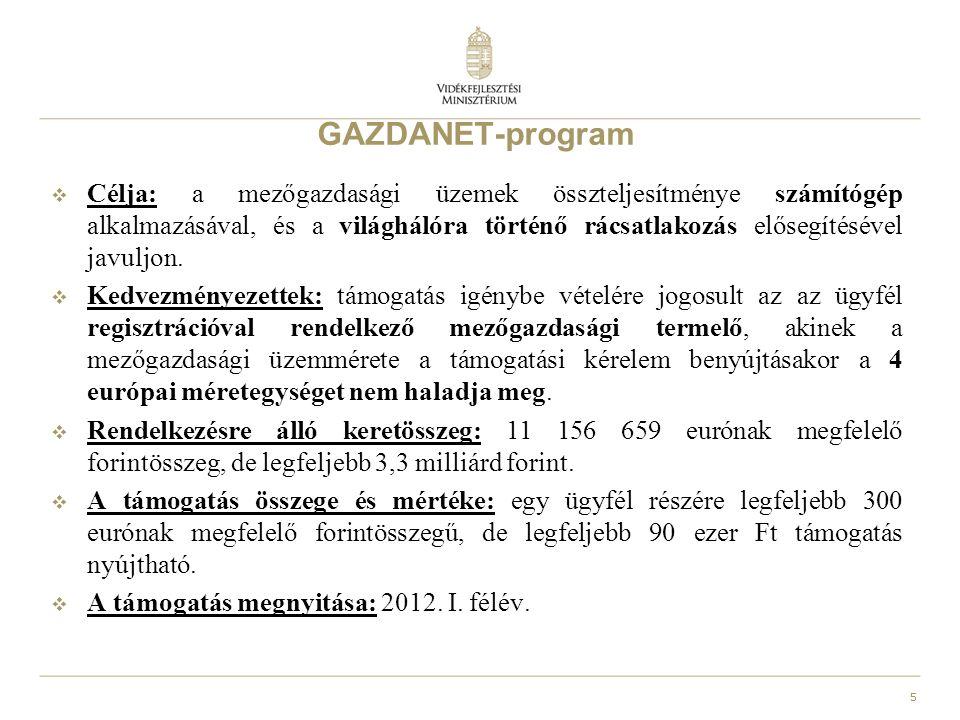 5 GAZDANET-program  Célja: a mezőgazdasági üzemek összteljesítménye számítógép alkalmazásával, és a világhálóra történő rácsatlakozás elősegítésével