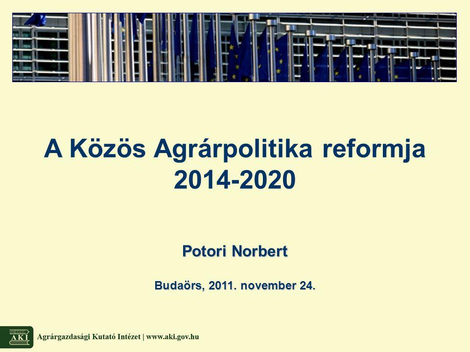 Termelékenység Versenyképesség Fenntarthatóság Korai évek Krízis évei MacSharry- reform Agenda 2000 Fischler- reform Health Check 2008 Élelmezés- biztonság Javuló hatékonyság Piac- stabilizáció Termelés ösztönzése Túltermelés Növekvő finanszírozási igény Nemzetközi nyomás Szerkezeti intézkedések Csökkenő készletek Környezeti kérdések Jövedelem- stabilizáció Költségvetési stabilizáció Folytatódó reformok Verseny- képesség Vidékfejlesztés Piac- orientáció Fogyasztó- központúság Vidékfejlesztés Környezet- védelem Egyszerűsítés WTO- kompatibilitás 2003.