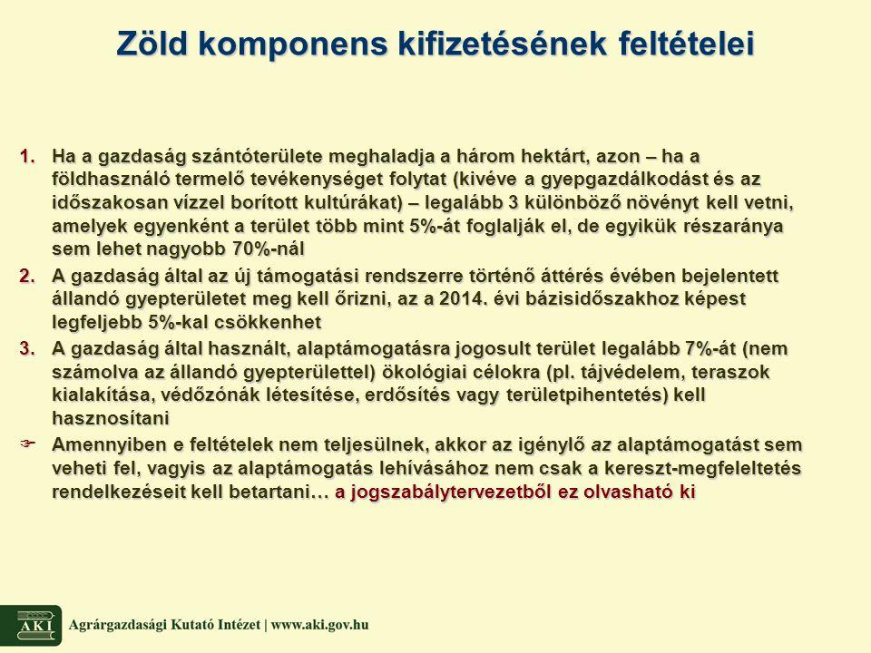 Termeléshez kapcsolt támogatások és kereszt-megfeleltetés  Magyarország közvetlen támogatási forrásaik legfeljebb 10%-ig termeléshez kapcsolt támogatásokat nyújthat olyan mezőgazdasági tevékenységek ösztönzésére, támogatásokat nyújthat olyan mezőgazdasági tevékenységek ösztönzésére, amelyek bizonyos térségekben fontos gazdasági, környezetvédelmi vagy szociális amelyek bizonyos térségekben fontos gazdasági, környezetvédelmi vagy szociális szerepet töltenek be (pl.