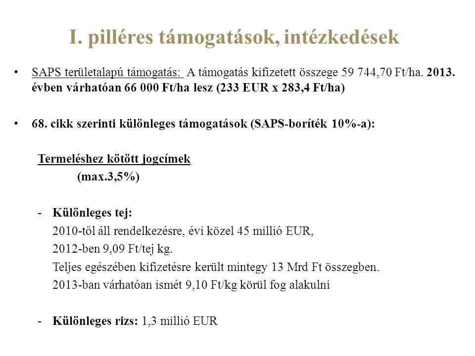 I. pilléres támogatások, intézkedések SAPS területalapú támogatás: A támogatás kifizetett összege 59 744,70 Ft/ha. 2013. évben várhatóan 66 000 Ft/ha